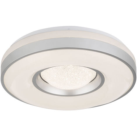 Plafonnier LED éclairage cuisine couloir rond argent métallique lampe projecteur Globo 41741-24