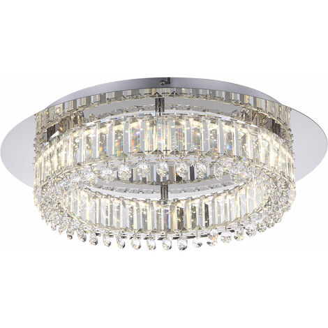Plafonnier LED intemporel chrome K9 cristaux clairs 21,6W Globo CALAMUS 67005D