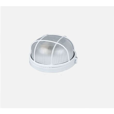 Plafonnier LED Lampe de sauna Lampe de sauna circulaire étanche à l'humidité Garage souterrain Atelier Entrepôt Lampe à poussière Lampe d'arbre Lampe de sauna de salle de bains (coquille blanche (sans ampoule)) (taille moyenne)