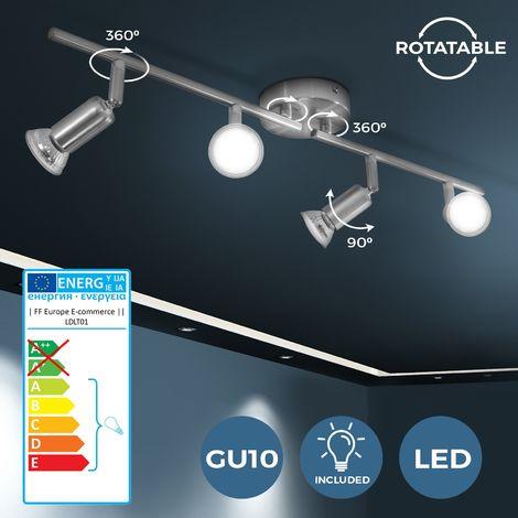 Plafonnier LED Luminaire pour Salon Cuisine Salle a Manger 4 Spots Orientables