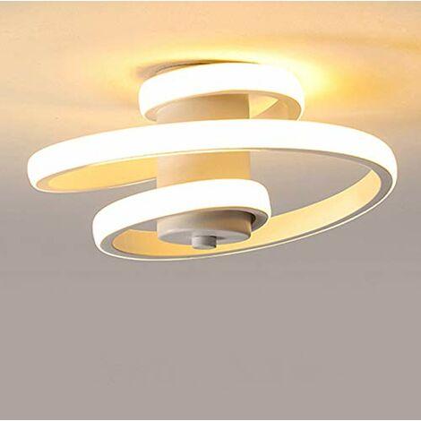 Plafonnier LED Moderne, 18W Plafonnier Design Créatif en Forme de Spirale, Lampe de Plafond en Aluminium et acrylique, Lustre LED