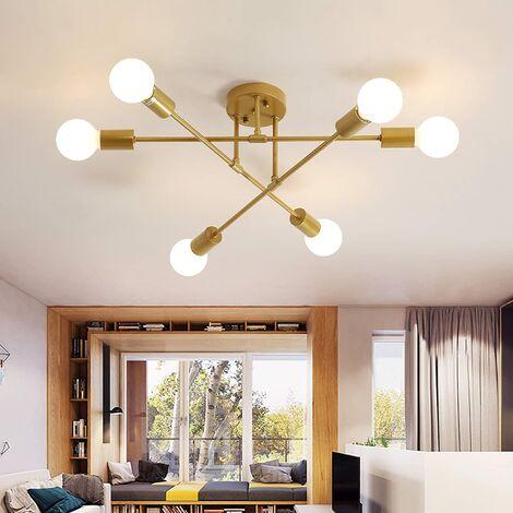 Plafonnier LED Moderne, Rétro Lustre Lampe Suspension Vintage 6 Lumières E27 Base, Lustre Luminaire en Métal Lampe pour Salon