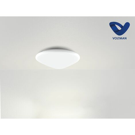 Plafonnier LED rond Ø21cm blanc SOMA techno OPTICARE™ - VOLTMAN - IP44 12W 4000K 960Lm - Blanc
