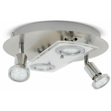 Plafonnier LED rond métal verre luminaire plafond salon 4 spots GU10