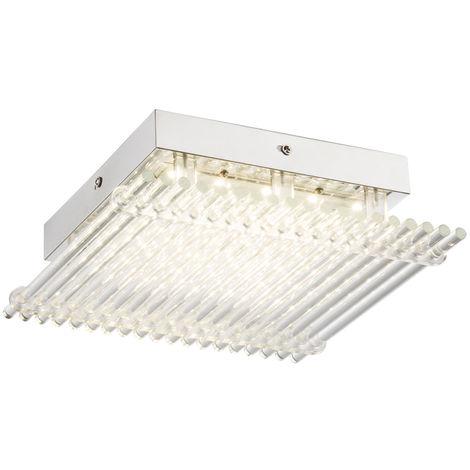 plafonnier LED salle à manger Baguettes de verre cuisines lampe chrome EEK A Globo 49248-12