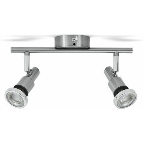 Plafonnier LED salle de bain IP44 spots plafond salle de bain 2 spots GU10 éclairage luminaire plafond 5W
