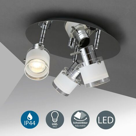 Plafonnier LED salle de bain spots plafond design IP44 GU10 3 spots