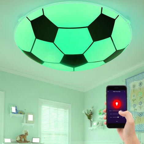 Plafonnier LED Smart Home RGB, design football, verre, noir et blanc, LEMMI