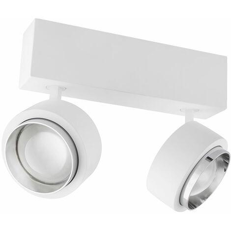 Plafonnier LED spot plâtre lampe chrome blanc éclairage du bureau Globo 55010D2