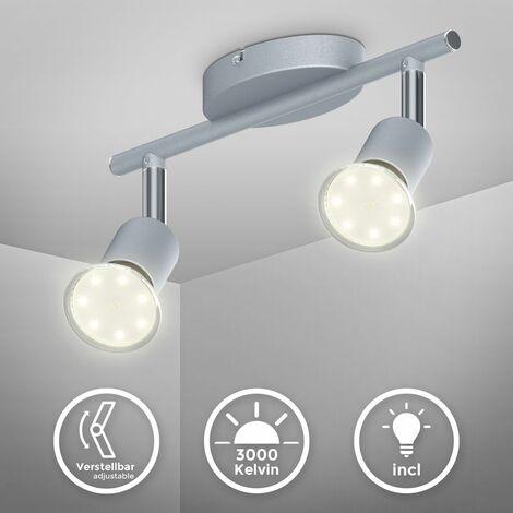 Plafonnier LED spots plafond salon orientables GU10 métal lustre plafond 2 spots