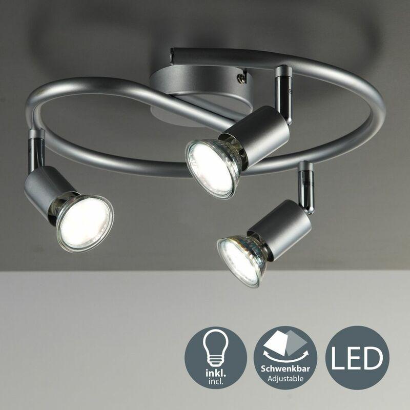 Plafonnier LED spots plafond salon orientables GU10 métal lustre plafond 3 spots