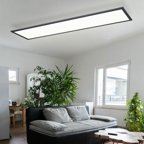 Plafonnier LED Structure Panneau LED 120 Plafonnier Plafonnier LED, grille aluminium noir, 40 watts 2700 lumens blanc chaud, H 5,5 cm, bureau d'étude