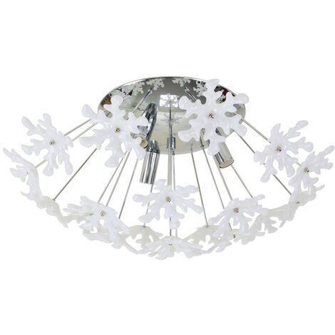 Plafonnier luminaire blanc 3 lumières Applique plafond flocons de neige