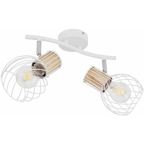 """main image of """"Plafonnier luminaire en métal blanc chrome cage en bois design couloir chambre à coucher"""""""