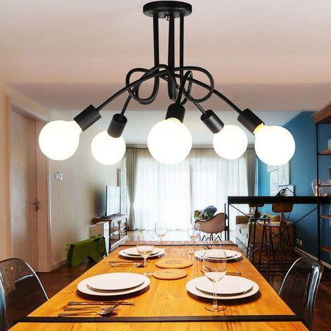 Plafonnier Luminaire Industrial Metal Fer , Edison 5 Têtes Lampe de suspension E27 Rétro pour Salle de Salle à Manger Chambre hôtel