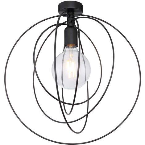 Plafonnier luminaire métal noir D 42cm éclairage anneaux réglables cuisine