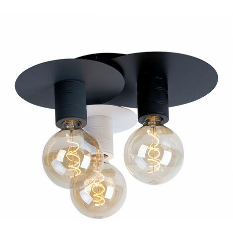 Plafonnier luminaire métal noir graphite éclairage salon chambre à coucher
