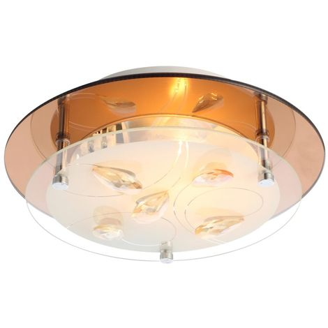 Plafonnier luminaire plafond chrome verre opale cristaux brun salle lampe Globo AYANA 40413