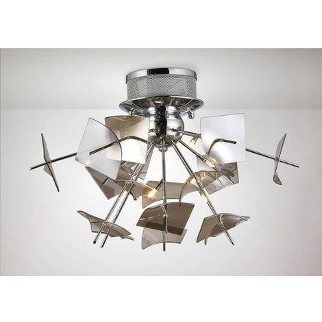 Plafonnier Meridan 6 Ampoules G4 chrome poli/verre fumé