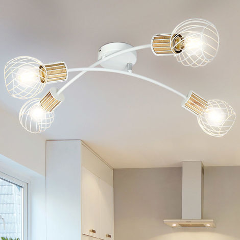 Plafonnier métal chrome clair blanc mat éclairage de salon mobile