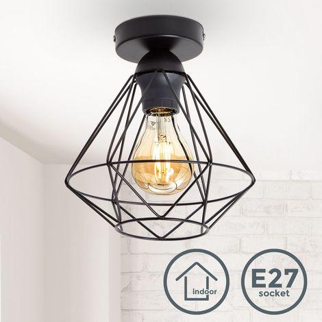 Plafonnier métal design rétro éclairage style industriel vintage Ø220mm pour ampoule E27 max. 40W hauteur 240cm