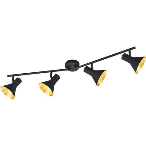 Plafonnier métal noir doré luminaire plafond éclairage salle de séjour chambre couloir