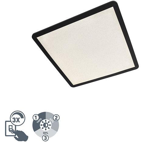 Plafonnier Moderne 60 cm noir IP44 dimmable 3 niveaux LED incl. - Steve Qazqa Design, Industriel / Vintage, Moderne Luminaire exterieur Luminaire interieur IP44