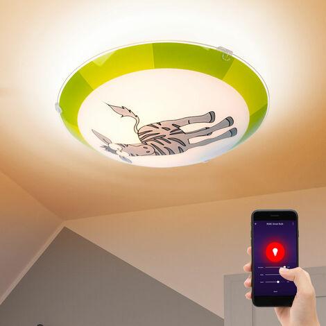 Plafonnier motif chambre d'enfant Zebra Alexa Google App dans un ensemble comprenant l'illuminateur LED Smart Home RGB