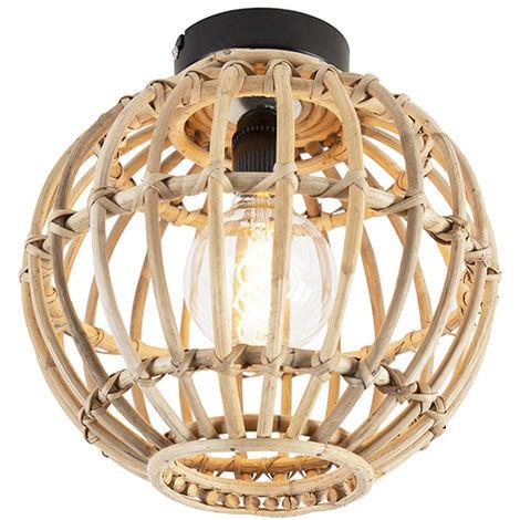 Plafonnier National Bambou - Canna Qazqa Rustique Luminaire interieur Globe