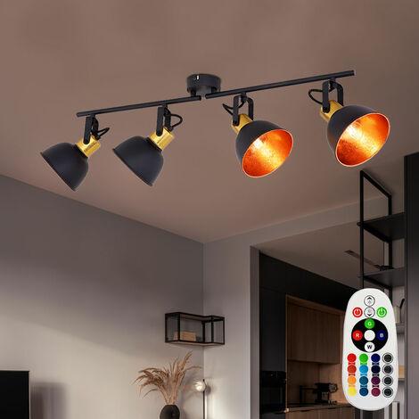 Plafonnier noir avec télécommande variateur doré réglable dans l'ensemble avec ampoules LED RGB