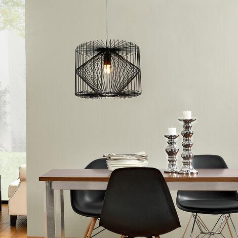 plafonnier noir métal luminaire suspendu grille salle à manger plafonnier vintage rétro lampe à suspension lampe LED salle de séjour