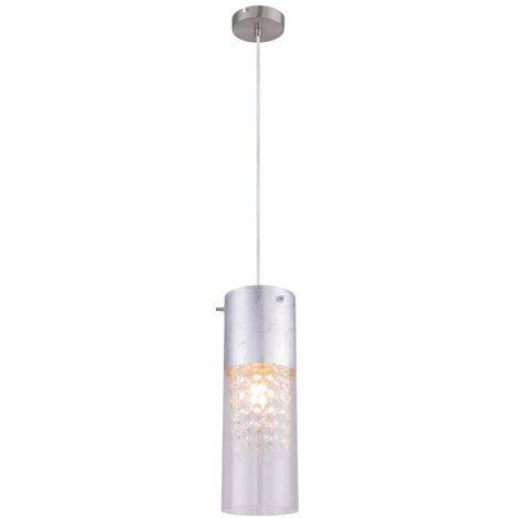 Plafonnier Pendule Lampe Suspendue Luminaire Feuille Nickel Mat Cristaux De Verre Argenté