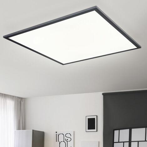 Plafonnier plat à panneau LED Lampe de salon LED Plafonnier, carré ALU noir opale blanc mat, 1x LED 30 watts 2000 lumens blanc chaud, L 45 cm