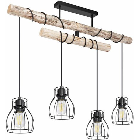 Plafonnier Poutre En Bois Salon Salle À Manger Éclairage Cage Spots Lampe Suspendue Noir Naturel