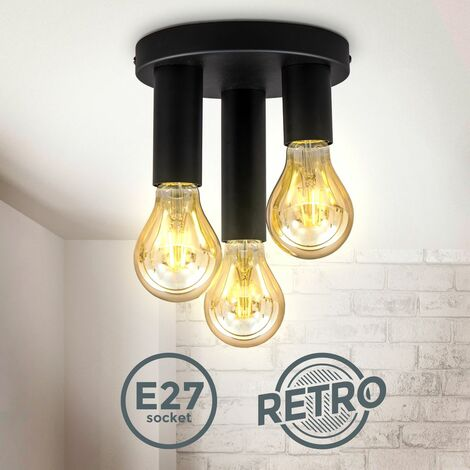 Plafonnier rétro 3 douilles pour ampoules 10W max métal noir mat éclairage design plafond chambre-salon-salle à manger Ø19x16,5cm