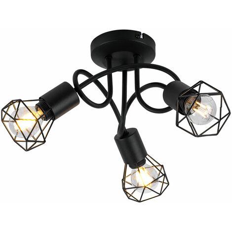 Plafonnier rétro cage cage lampe de salon noire dans un ensemble avec éclairage LED