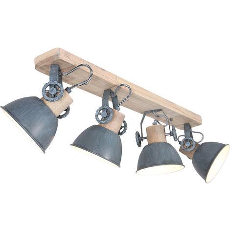 Plafonnier rétro spot orientable salon bois spot bois gris clair Steinhauer 2729GR