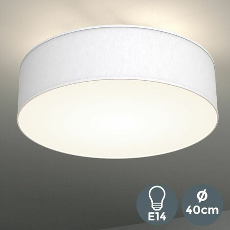 Plafonnier rond abat-jour tissu luminaire plafond lampe salon salle à manger chambre