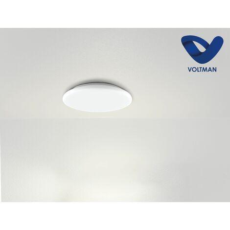 Plafonnier rond blanc VEGA lumière naturelle - VOLTMAN - IP54 18W 3000K à 5700K 1710Lm - Blanc