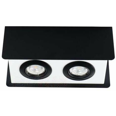 Plafonnier Saillie rectangulaire pour 2 ampoules GU10 Noir / blanc