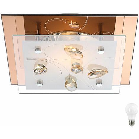 Plafonnier Salle à manger Cuisine Cristal Ambre Verre Lampe Champagne ensemble comprenant LED illuminant