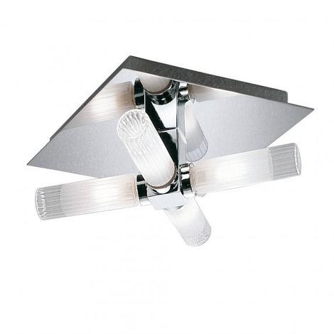 Plafonnier salle de bains chrome IP44 4 Ampoules