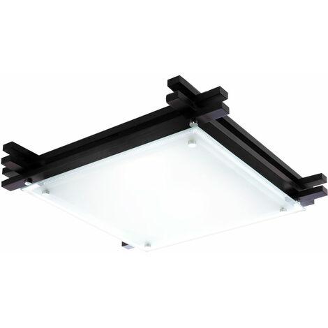 Plafonnier salon salle à manger bois lampe en verre noir satiné télécommande projecteur changeur de couleur dans un ensemble comprenant des lampes LED RGB