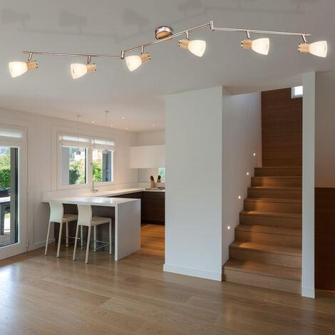 Plafonnier Sommeil Chambre d'Hôtes Verre Spot Light Rail Lampe en Bois Réglable Globo 54352-6