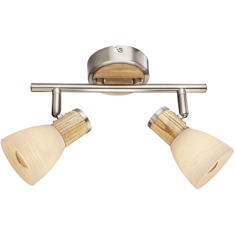 Plafonnier spot spot bar bois verre opale lampe de salon réglable Globo 54352-2