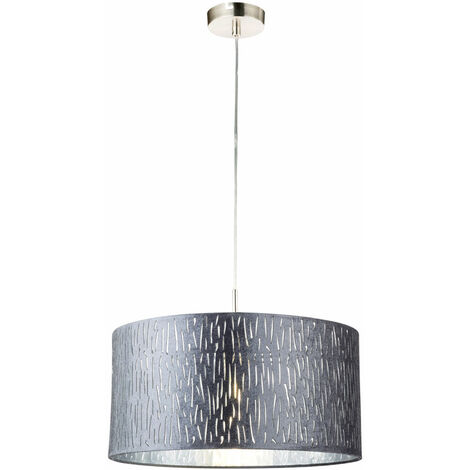 Plafonnier suspendu avec télécommande réglable salon métal argenté, comprenant des ampoules LED RGB