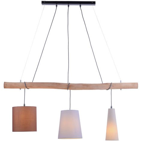 Plafonnier suspendu en textile Salon Poutre en bois Lampe suspendue dans un ensemble comprenant un illuminant LED