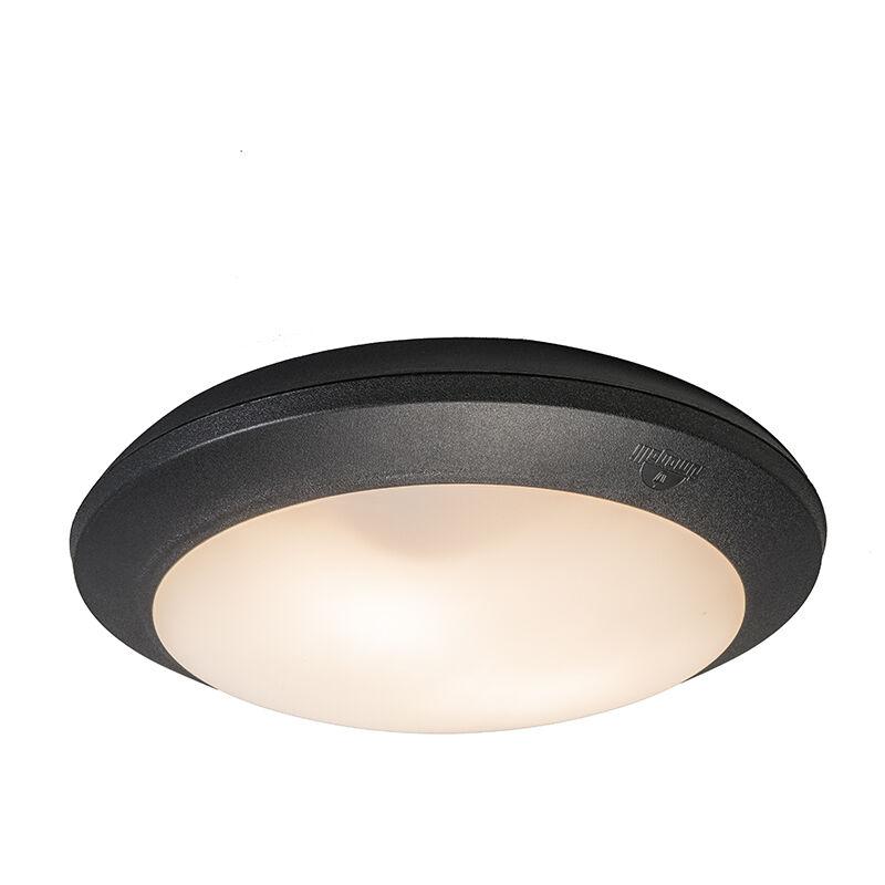 Plafonnier Umberta Noir Avec Détecteur De Mouvement Qazqa Moderne Luminaire Avec Détecteur Crépusculaire Exterieur Ip65 Rond