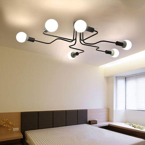 Plafonnier Vintage Industrie Lampe de 6 Tête Douille E27 Noir , Lustre Suspension Luminaire en Métal pour Salon salle à manger bar cafétéria