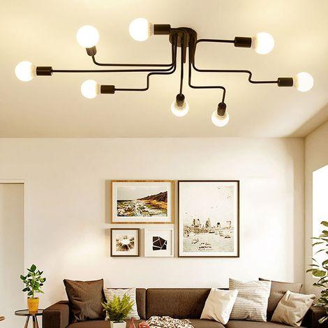 Plafonnier vintage industrie lampe de 8 t te douille e27 noir lustre suspension luminaire en - Plafonnier pour salle a manger ...
